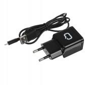 Сетевое зарядное устройство Qumo Energy 1 USB, 1A, micro USB cable, черный