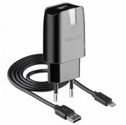 СЗУ Walker  2в1 WH-11 USB (1А) + кабель Apple iPhone 5/6/7, черное