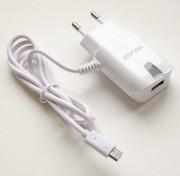 СЗУ Walker  2в1 WH-11 USB (1А) + кабель Type C, белое