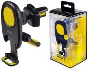 """Perfeo-533 Автодержатель для смартфона до 6,5""""/ на воздуховод/ магнитный/ с опорой/ черный+желтый"""