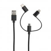 Универсальный USB Кабель 3в1 iPhone 4/micro USB/mini USB
