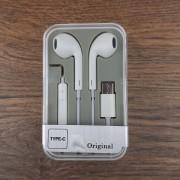 Наушники MP3 с микрофоном (Type-C), пластиковый бокс, белый