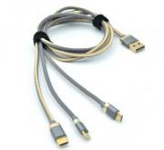 INNOVATION O3IMT-OCTOPUS LUX универсальный кабель iPhone 5 + Micro+TypeC 3в1, длина 1,2 м, 2A, серый