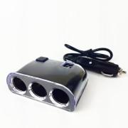 Разветвитель в прикуриватель Q5 со шнуром, на 3 устройства  + выключатель + 2 USB