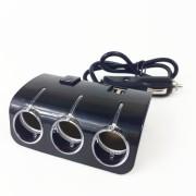 Разветвитель в прикуриватель 1505/Q6 со шнуром, на 3 устройства + 2 USB, 1000mAh