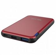 Внешний аккумулятор Walker WB-505, 5000 mAh, Li-Pol, USB, microUSB, Type-C, металл, красный