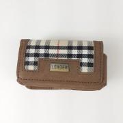 Кобура для Nokia 1100 комбинированная (текстиль+кожа), коричневая клетка