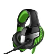 Игровая гарнитура RUSH CRUISER,LED-подсветк, динамики 50мм, гибкий микрофон,  черн/зелен