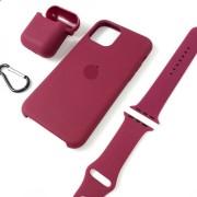 Подарочный набор для iPhone 11 Pro: чехол+ремешок для Watch 42-44mm+кейс AirPods, №52 фиол. виноград