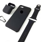 Подарочный набор для iPhone 11 Pro: чехол+ремешок для Watch 38-40mm+кейс AirPods, №18 черный