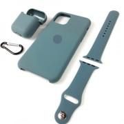 Подарочный набор для iPhone 11 Pro: чехол+ремешок для Watch 38-40mm+кейс AirPods, №58 сосновый лес