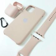 Подарочный набор для iPhone 11 Pro Max: чехол+ремешок Watch 42-44mm+кейс AirPods, №19 песочно-розовы