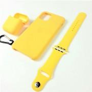 Подарочный набор для iPhone 7/8: чехол+ремешок для Watch 38-40mm+кейс AirPods, №04 желтый