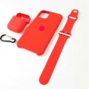 Подарочный набор для iPhone 11 Pro Max: чехол+ремешок Watch 38-40mm+кейс AirPods, №14 красный