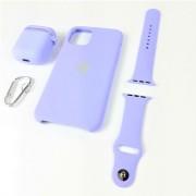Подарочный набор для iPhone 11 Pro: чехол+ремешок для Watch 38-40mm+кейс AirPods, №46 лавандово-серы
