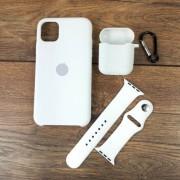 Подарочный набор для iPhone 11 Pro Max: чехол+ремешок Watch 38-40mm+кейс AirPods, №09 белый